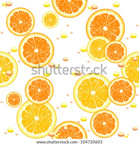 Seamless background with slices of orange