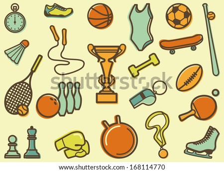 Seamless background with sports symbols  - stock vector