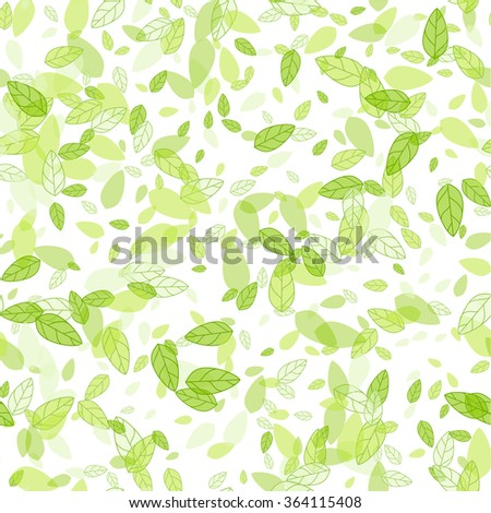 Seamless background with spring green leaves. Vector spring illustration.  Spring abstract vector background. Green transparent spring leaves. Paper spring design.  - stock vector