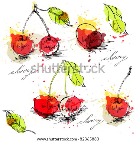 Seamless background with stylized cherry - stock vector