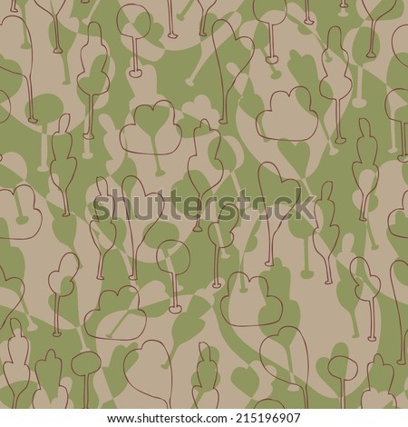 Seamless background with stylized trees. Forest pattern color