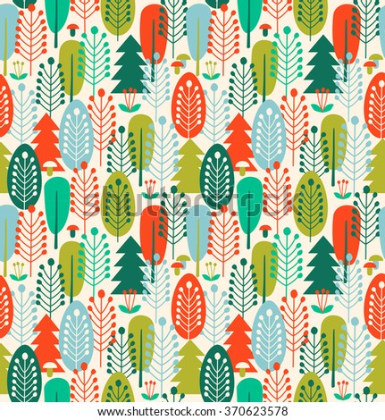 Seamless background with stylized trees. Nordic forest pattern - stock vector