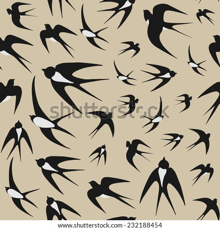 Seamless background with swallows