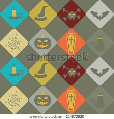 seamless background with symbols of Halloween
