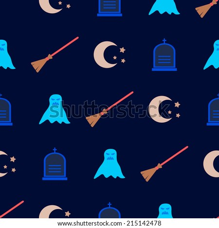 seamless background with symbols of Halloween - stock vector