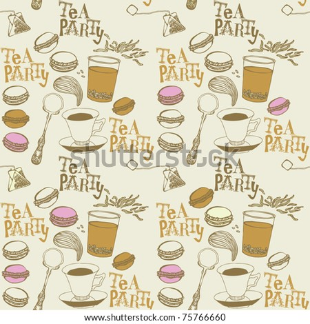seamless background with tea - stock vector