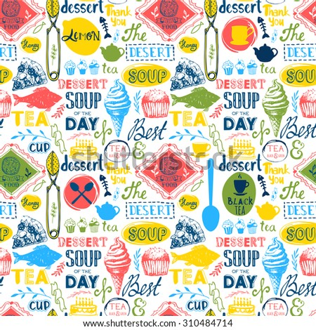 Seamless background with tea and food logo, lettering and labels. Menu pattern. Vector Illustration with funny tea symbols on white background. Decorative elements for your packing design. - stock vector