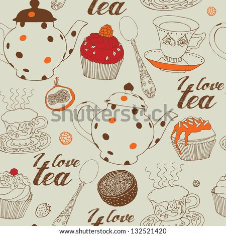 Seamless background with tea and sweets. Vector illustration. - stock vector