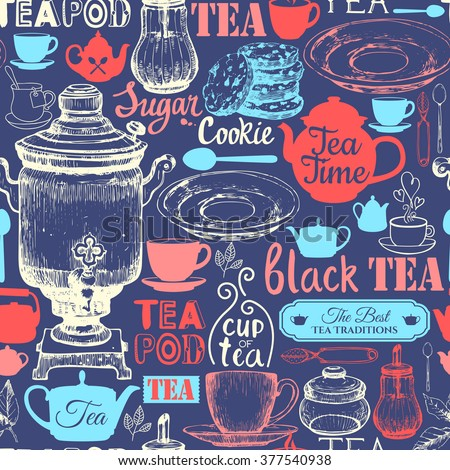 Seamless background with Tea Party symbols. Menu pattern. Vector Illustration with funny drinks lettering and labels on dark background. Decorative elements for your packing design. Multicolor decor.