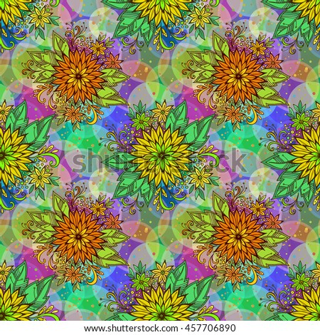 Seamless Background with Tile Floral Pattern, Symbolic Flowers and Leafs and Abstract Ornament. Eps10, Contains Transparencies. Vector - stock vector