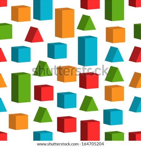 Seamless background with toy cubes for textiles, interior design, for book design, website background. - stock vector