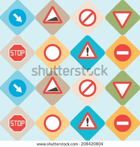 seamless background with traffic signs - stock vector