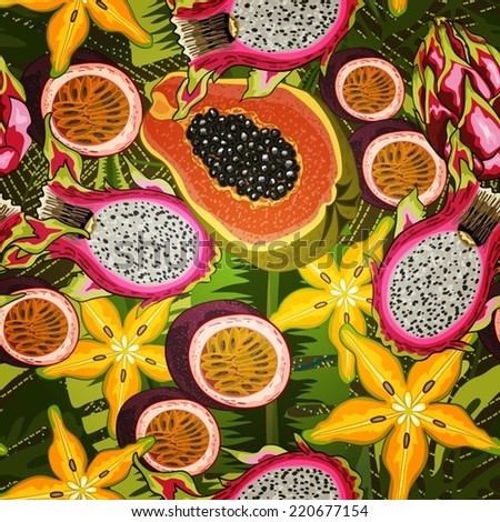 Seamless background with tropical fruits - stock vector