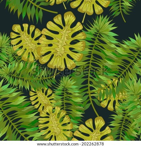 Seamless background with tropical leaves - stock vector