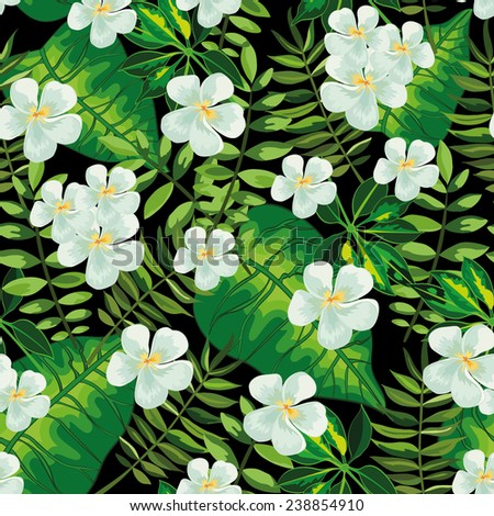 Seamless background with tropical tropical leaves and flowers frangipani (plumeria) - stock vector
