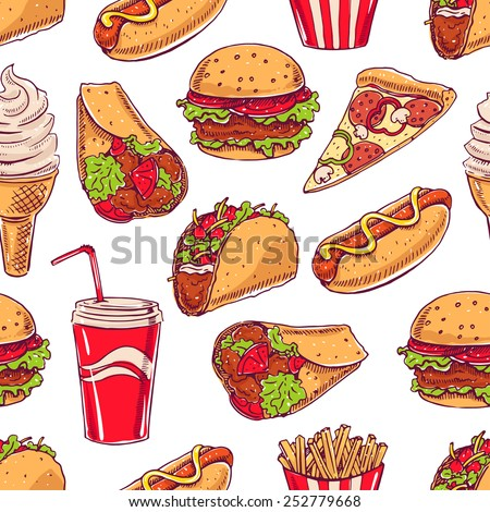 seamless background with various fast food. hot dog, hamburger, pizza slice. hand-drawn illustration - stock vector
