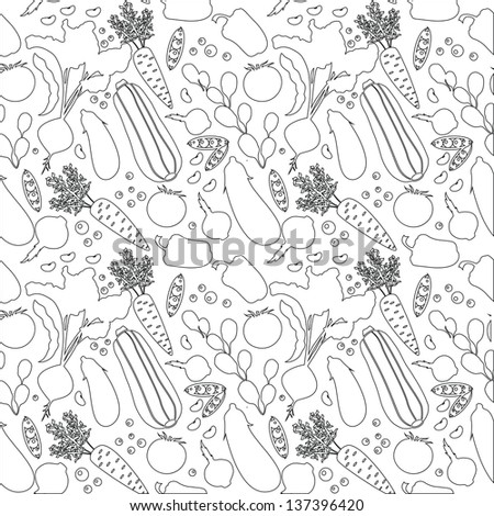 Seamless background with various vegetables. Vector outlines pattern. - stock vector