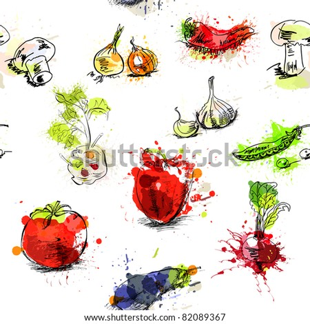 stock vector seamless background with vegetables 82089367 - Каталог — Фотообои «Еда, фрукты, для кухни»