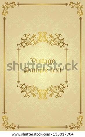 Seamless background with vintage frame. Retro design - stock vector