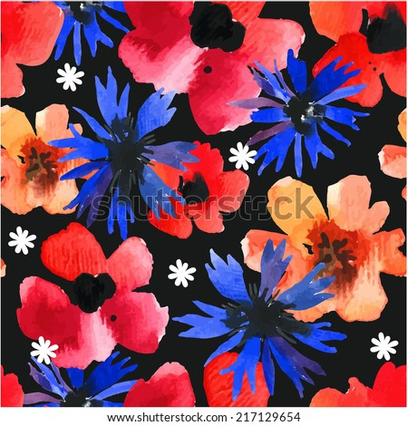 Seamless background with watercolor red poppies & blue cornflowers on black background. Floral ornament with wildflowers. Background for your design and decor. - stock vector