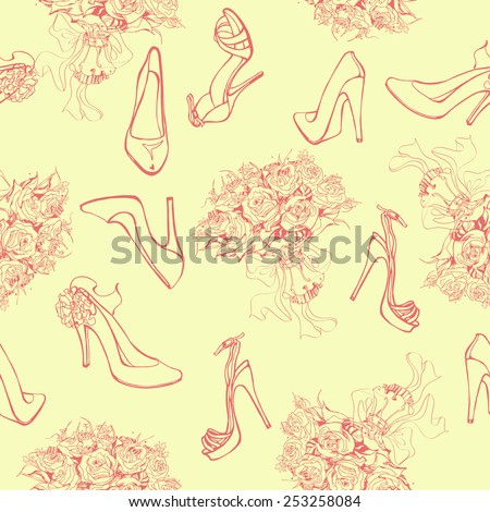 Seamless background with wedding bouquets of roses and with a beautiful female shoes. Vector illustration. - stock vector