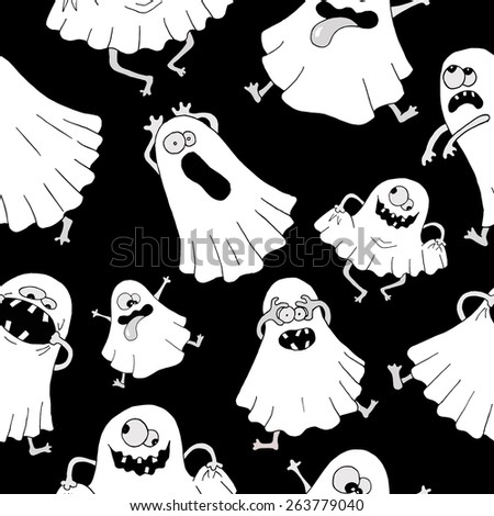 Seamless background with white ghosts making silly faces on black background. Halloween illustration - stock vector