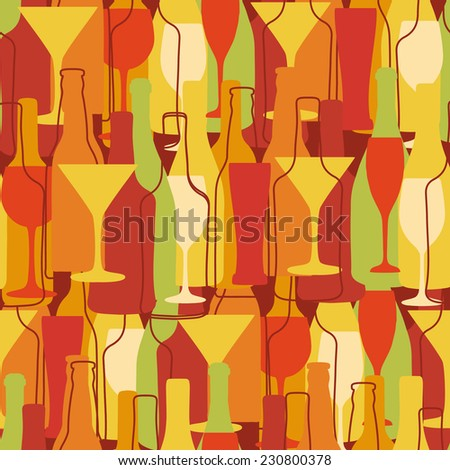 seamless background with wine bottles and glasses - stock vector