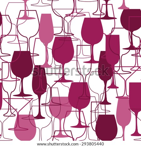 seamless background with wine glasses. Menu and restaurant background. Suitable for poster, promotional flyer, invitation, banner or magazine cover.
