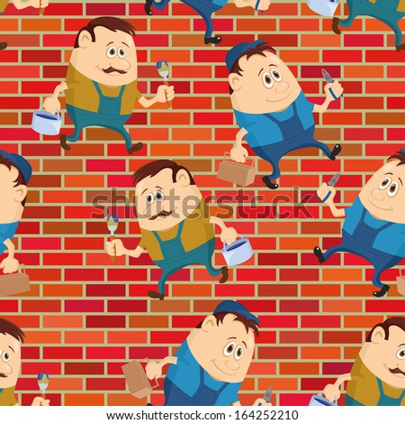 Seamless background with workers with pliers and toolboxes and painters with brushes and buckets, cartoon characters on a brick wall. Vector - stock vector