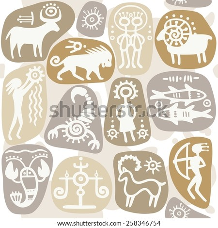 Seamless background: zodiac signs. Horoscope. Ethnic style.