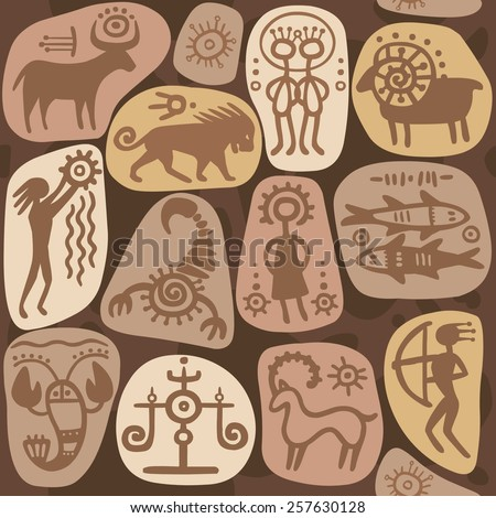 Seamless background: zodiac signs. Horoscope. Ethnic style. Petrographic. - stock vector