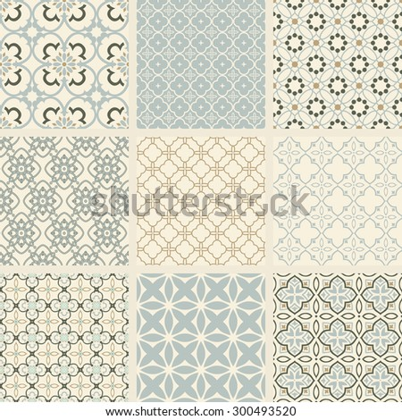 Seamless backgrounds collection. Set of arabesque vector patterns. Color abstract ornaments.