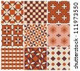 Seamless backgrounds Collection - Vintage Tile - for design and scrapbook - in vector - stock vector