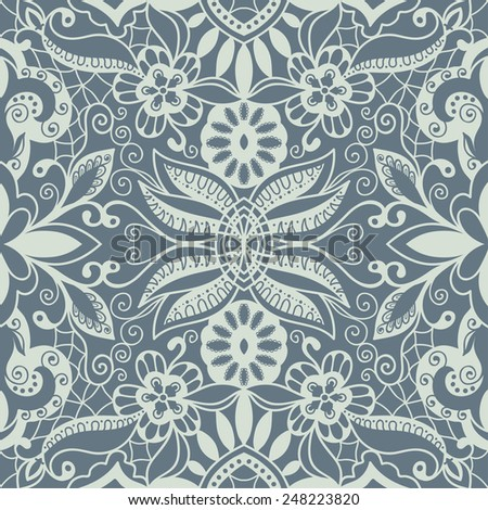 Seamless backgrounds, detailed lace pattern, winter snowflakes ornament, fabric texture, hand-drawn artwork, vector illustration - stock vector