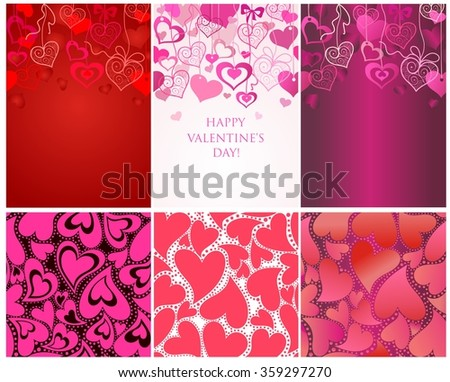 Seamless backgrounds for Valentines day - stock vector