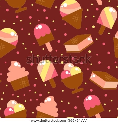 seamless backgrounds with a variety of ice cream