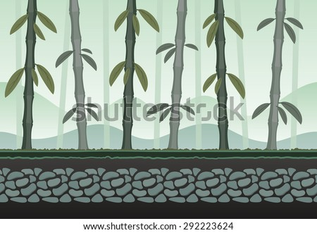 Seamless bamboo landscape for game background. It can be repeated or tiled without any visible seams - stock vector