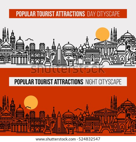 Seamless banner of cityscape with world's most popular tourist attractions. Flat line vector  travel, tourism and journey concept