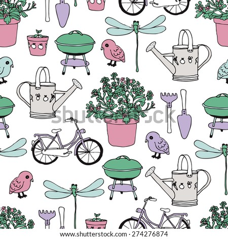 Seamless barbecue garden and summer bike ride plants and birds gardening theme illustration background pattern in vector - stock vector