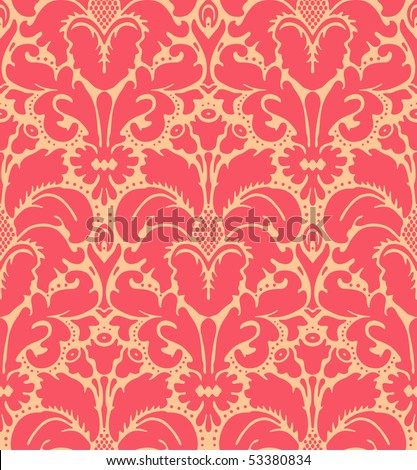 Seamless baroque style damask background - stock vector