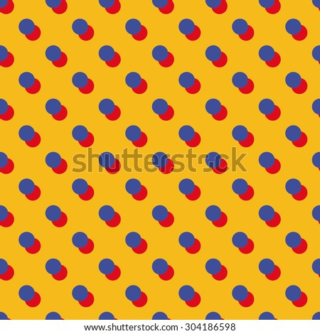 Seamless bauhaus blue red and yellow polka dot with offset shadow pattern vector - stock vector