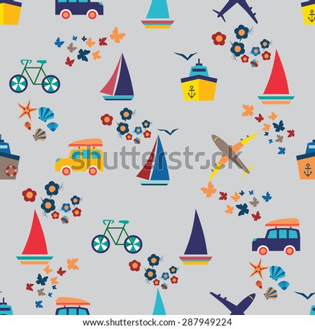 Seamless beach vacation pattern. Background for you a summer vacation design. - stock vector