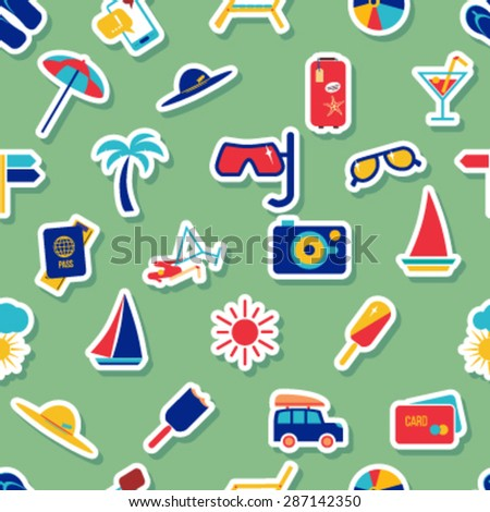 Seamless beach vacation pattern. Background for you  a summer vacation design. Icons on a colored background with a stroke. - stock vector