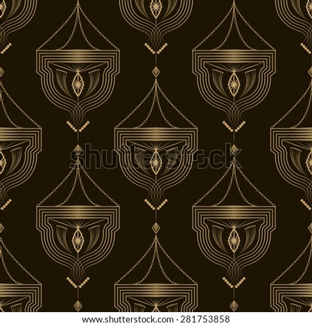Seamless beautiful antique art deco pattern ornament. Geometric background design. Vector repeating texture. - stock vector