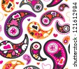 Seamless beautiful colorful paisley pattern background in vector - stock vector