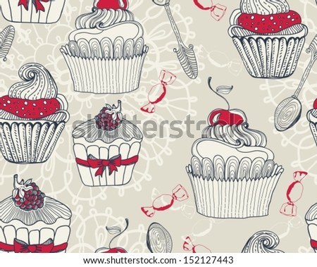Seamless Beautiful retro Background with cupcakes, Vector