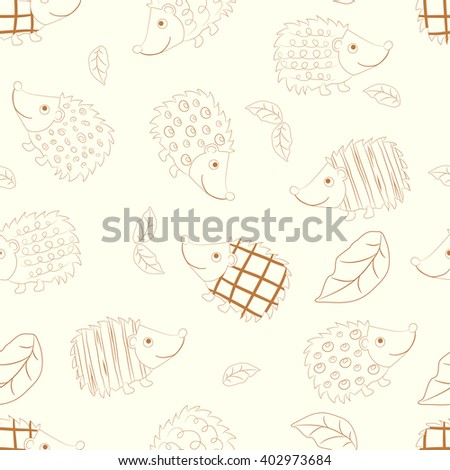 Seamless beautiful wallpaper of cheerful colored hedgehogs - stock vector