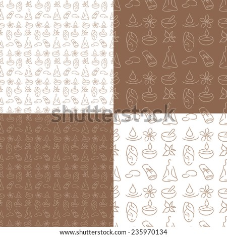 Seamless beauty pattern, wellness. Skin care, massage, health background, tile. - stock vector