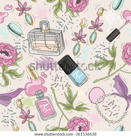 Seamless beauty pattern with make up, perfume, nail polish, flowers, jewelry. Background for girls or women. - stock vector