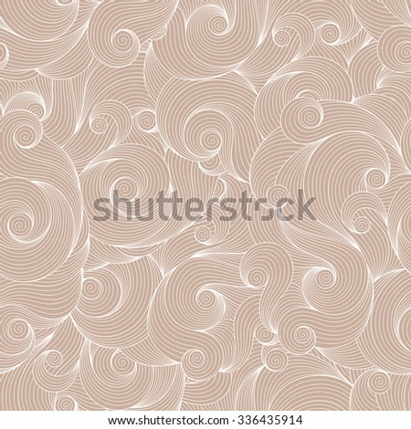 Seamless beige abstract hand-drawn waves pattern, wavy background. Seamless pattern can be used for wallpaper, pattern fills, web page background,surface textures.